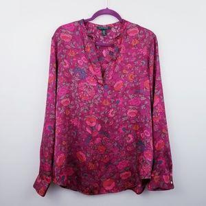 Lauren RL | Burgundy Floral Satin Popover Blouse